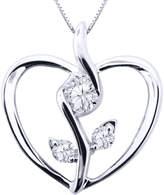 Sirena 1/8 CT. Diamond 10K White Gold Flower Heart Pendant Necklace