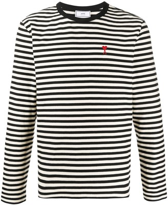 AMI Paris Ami de cur embroidered striped top