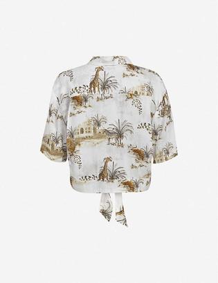 AllSaints Leni animal-print crepe shirt