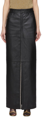 Saint Laurent Black Leather Snap Slit Skirt