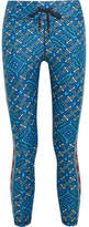 The Upside Casa Azul Cropped Printed Stretch Leggings - Turquoise