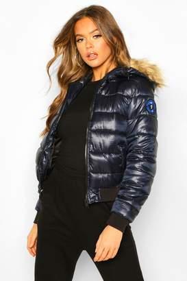 boohoo Faux Fur Hooded Puffer Jacket