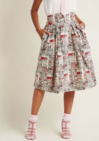 Emily And Fin Far-Out and Fabulous Midi Skirt in Village in S - Exclusive A-line Skirt Long by from ModCloth