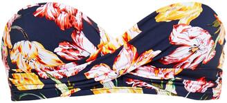 Jets Twisted Floral-print Bandeau Bikini Top