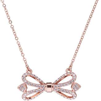 Ted Baker Haven Pave Crystal Bow Pendant Necklace
