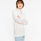 Paul Smith Men's Off-White Wool-Blend V-Neck Sweater With Multi-Coloured Stripe Detailing