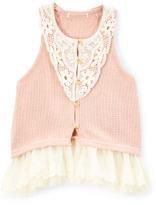 Lavender Crochet Ruffle-Hem Vest - Toddler & Girls
