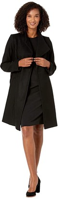 MICHAEL Michael Kors Asymmetric Wool Coat with Belt Coat M123890TZ (Black) Women's Coat