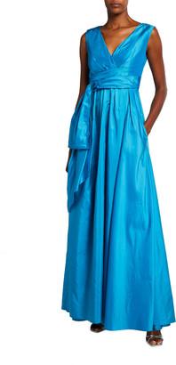 Talbot Runhof Boo Draped Fit-&-Flare Silk Gown