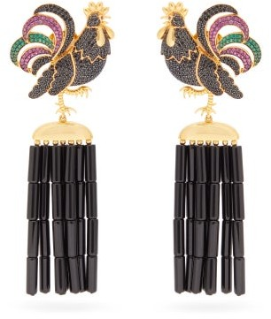 BEGÜM KHAN Rooster Napoleon Gold-plated Clip Earrings - Womens - Black Multi