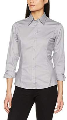 Kustom Kit Women's Contrast Premium Oxford Shirt (Silver Grey/Charcoal), (Size:)
