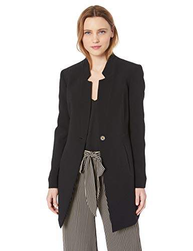Nine West Women's 1 Button Inverted Notch Collar Crepe Jacket
