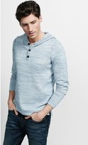 Express Marled Henley Hooded Sweater