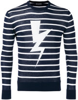 Neil Barrett striped lightning print sweater - men - Cotton - XL