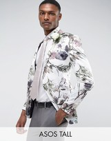 Asos Tall Wedding Super Skinny Blazer With Watercolour Floral Print