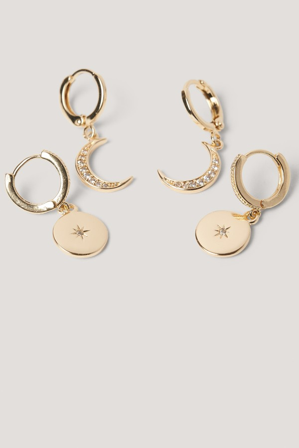Mini Moon And Star Pendant Earrings