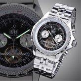 K&S KS Stainless Automatic Mechanical Tourbillon Men's Dial Date Day Wrist Watch KS009