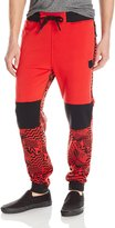 Southpole Men's Fleece Jogger Pants with All Over Uneven Lines and Lightning Patterns