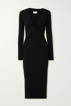Alexander McQueen Twist-front Ribbed Wool Midi Dress - Black