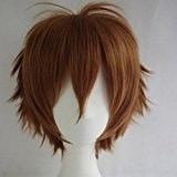 Unisex Women Short Curly Straight Cosplay Wig Anime Hair Tail Full Wigs Heat Resistant Synthetic Wig Wigs Japanese Kanekalon Fiber 20 Colors Full Wig for Women Lady Fashion and Beauty (light brown)