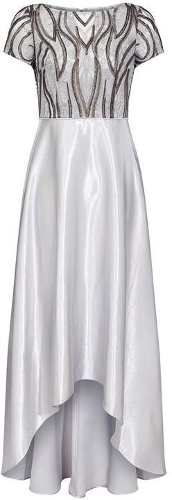 Adrianna Papell Embroidery Satin High Low Gown