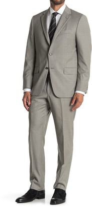 Hickey Freeman Grey Plaid Two Button Notch Lapel Suit