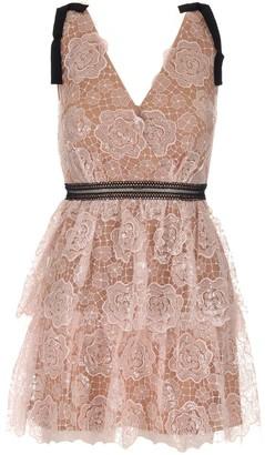 Self-Portrait Starlet Rose Lace Mini Dress
