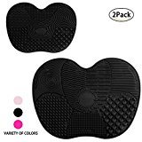 Makeup Brushes Cleaning Mat, LEOKOR Makeup Brush Cleaner Pad Set of 2 Cosmetic Brush Cleaning Mat Washing Tool with Suction Cup (Black)