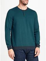 John Lewis Cotton Cashmere Stripe Henley Jumper, Green