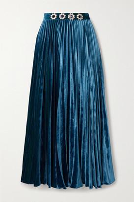 Christopher Kane Crystal-embellished Pleated Velvet Midi Skirt - Blue