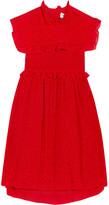 Balenciaga Baby Doll Plastron Polka-dot Silk Crepe De Chine Mini Dress - Red