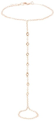 Jacquie Aiche 14kt rose gold diamond finger bracelet