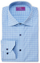 Lorenzo Uomo Blue Check Trim Fit Dress Shirt