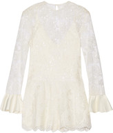 Alexis Yumi cutout embellished corded lace playsuit