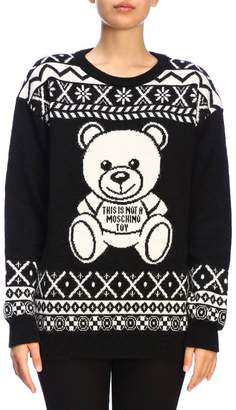 Moschino Sweater Long-sleeved Pullover With Norwegian Teddy Maxi Logo