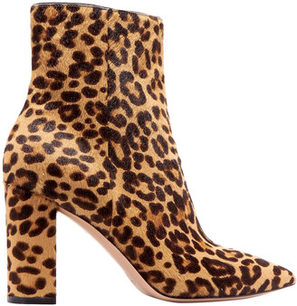 Gianvito Rossi 85 Leopard-print Calf Hair Ankle Boots