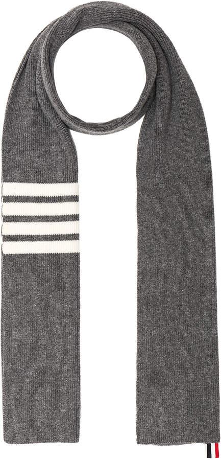 Thom Browne Cashmere Ribbed Bar Stripe Scarf