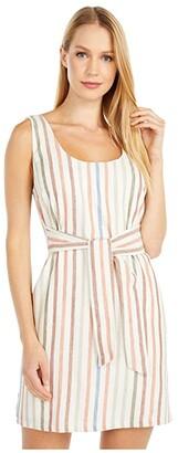 BB Dakota Walk The Linen Yarn-Dyed Cotton Stripe Dress (Ivory) Women's Dress