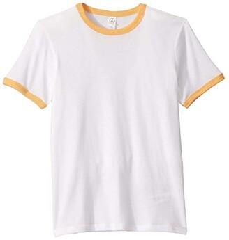 Alternative Kids Keeper Vintage Jersey Ringer T-Shirt (Big Kids) (White/Maize) Kid's Clothing