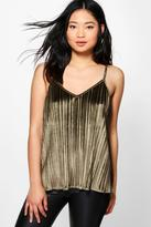 Boohoo Petite Lilly Velvet Pleated Camisole