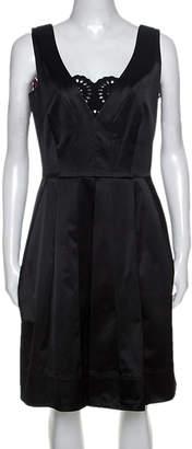 Diane von Furstenberg Black Satin Lace Panel Detail Eliza Dress M