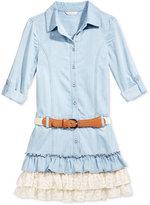 GUESS Denim & Lace Ruffle Dress, Big Girls (7-16)