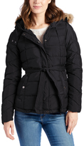 U.S. Polo Assn. Black Tie-Belt Faux Fur Hood Quilted Coat