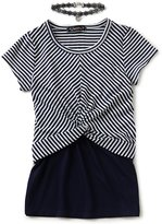 Xtraordinary Big Girls 7-16 Striped/Solid 2-Fer Top