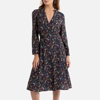 Pepe Jeans Floral Knee-Length Dress with V-Neck