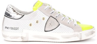 Philippe Model Paris X Sneaker In Perforated White Leather With Silver Spoiler And Fluorescent Yellow Details