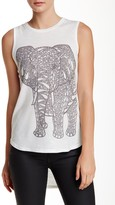 Go Couture Curved Hi-Lo Printed Tank