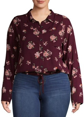 No Boundaries Junior Plus Size Roll-Tab Button Down Shirt
