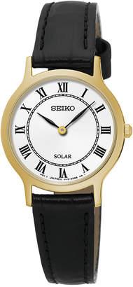 Seiko Women Solar Dress Black Leather Strap Watch 26mm SUP304