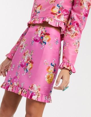 Asos DESIGN mini skirt in pink floral print co